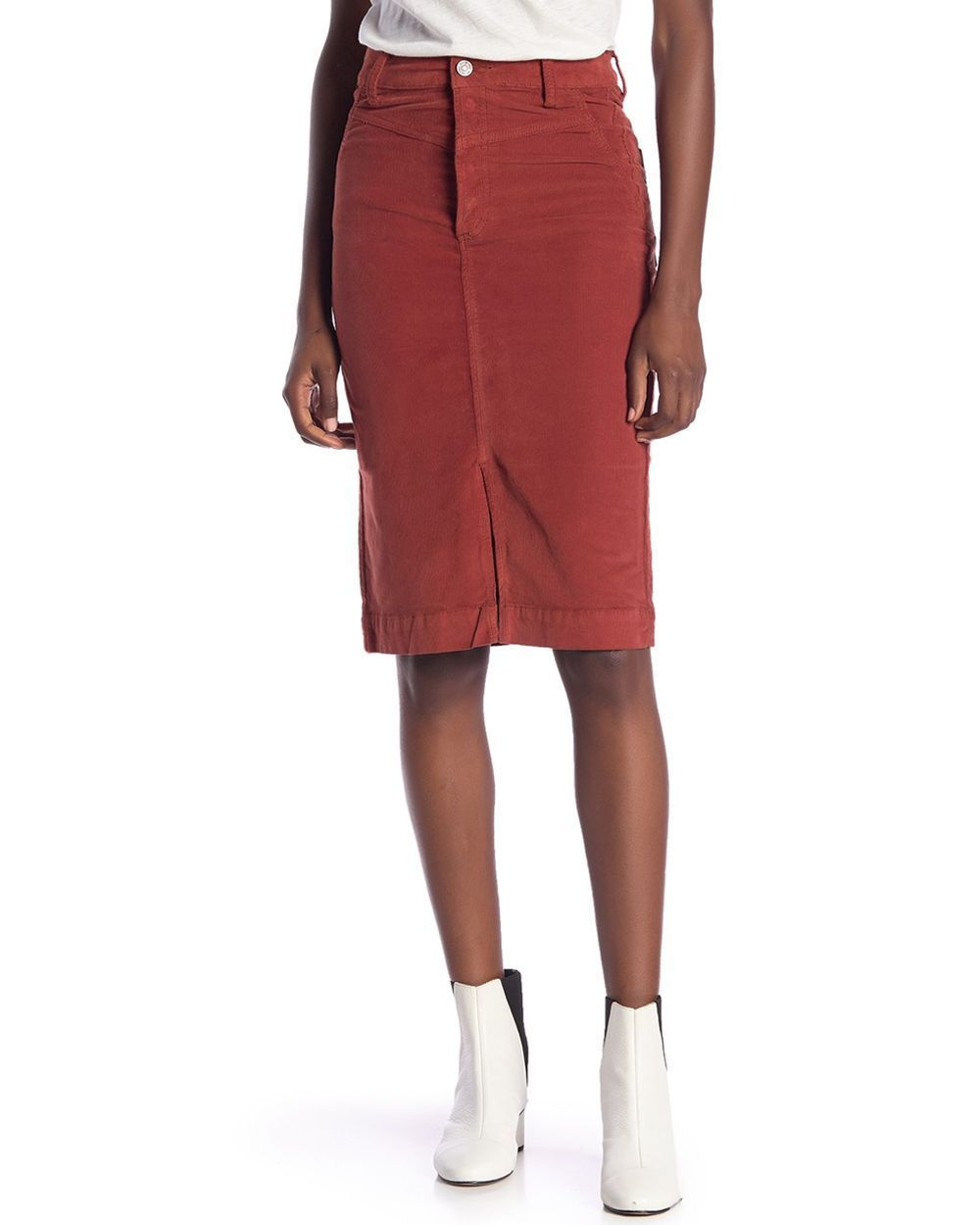 Free People Rosemary Cord Brick Red Pencil Skirt 25 Buy Clothing Online Best Price And Offers Ksa Hnak Com